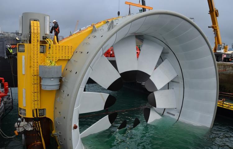 exemple d'une hydrolienne utilisée dans une centrale hydraulique