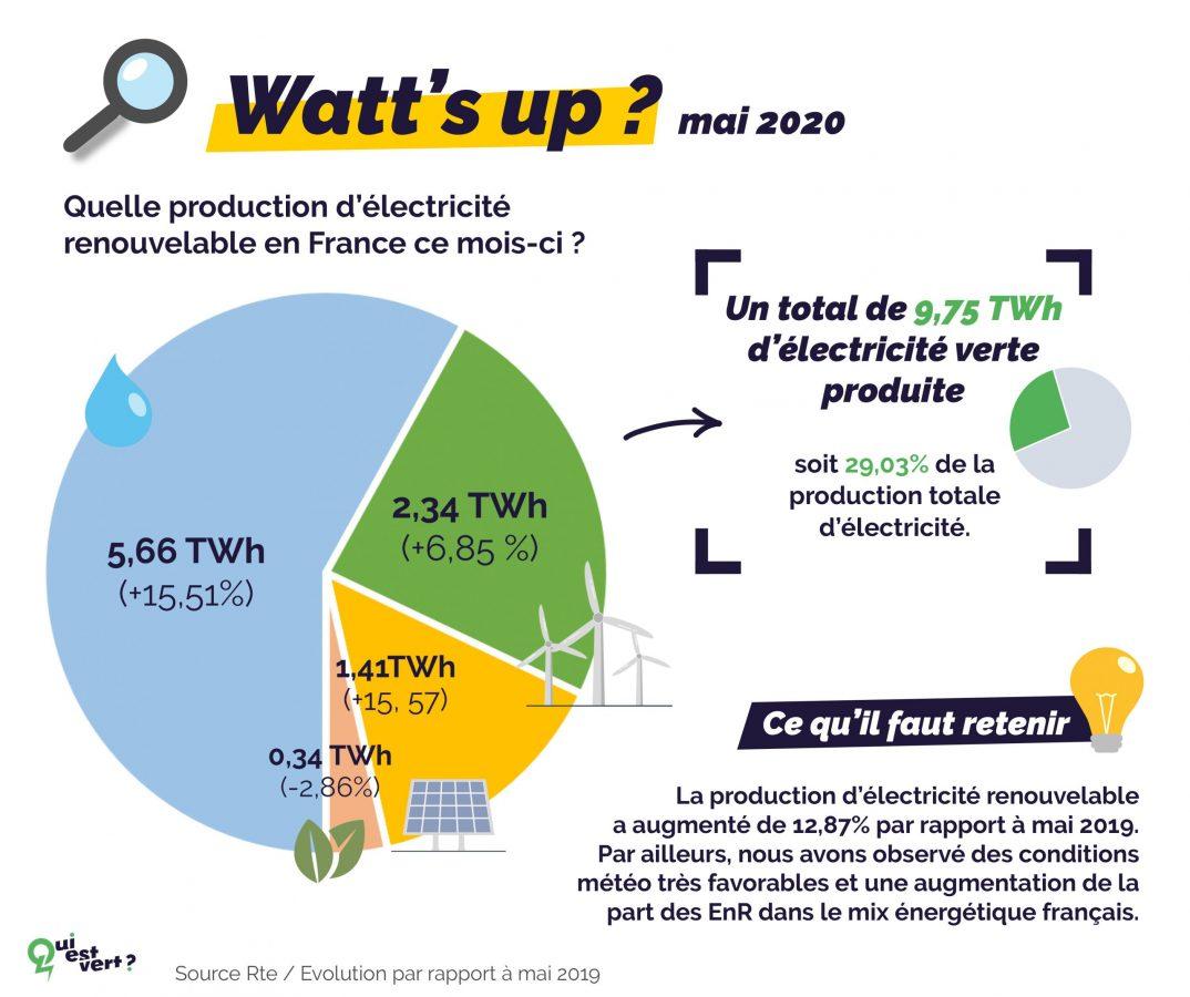 La production d'électricité renouvelable a augmenté en mai 2020