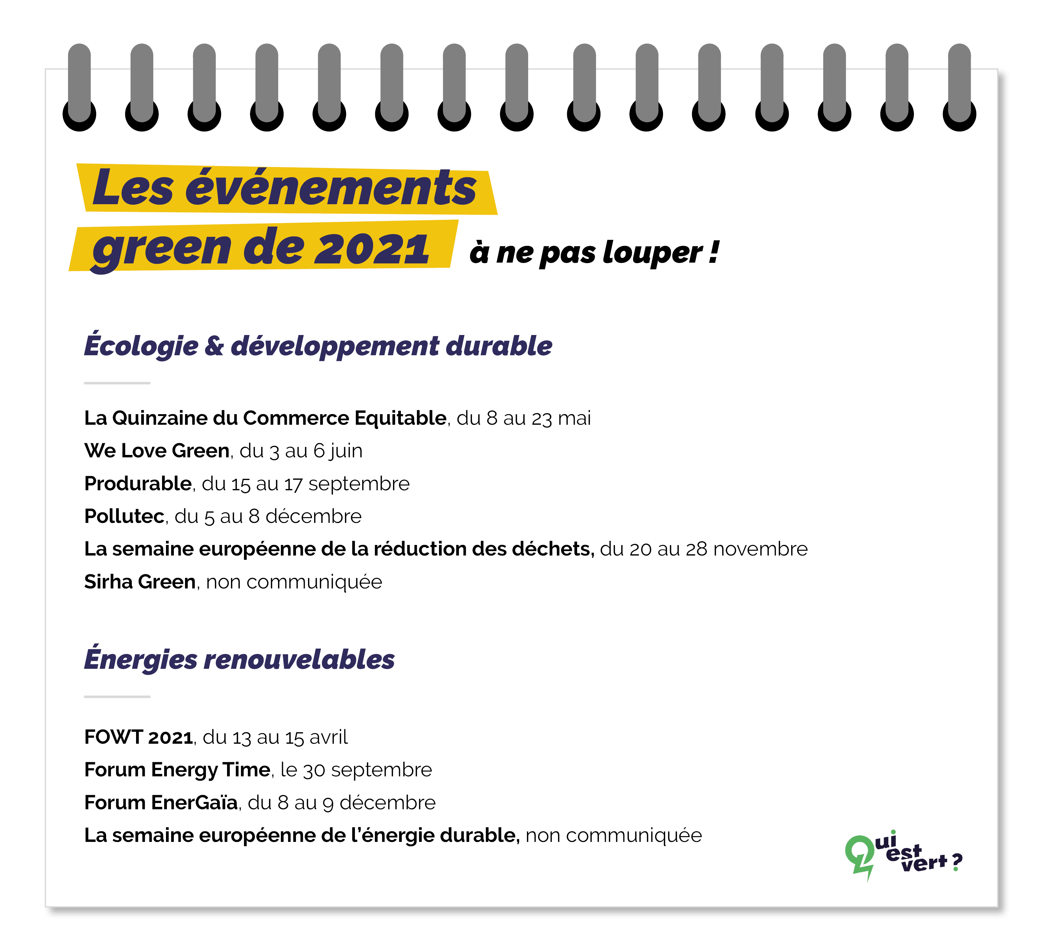 agenda 2021 des events green et énergies renouvelables